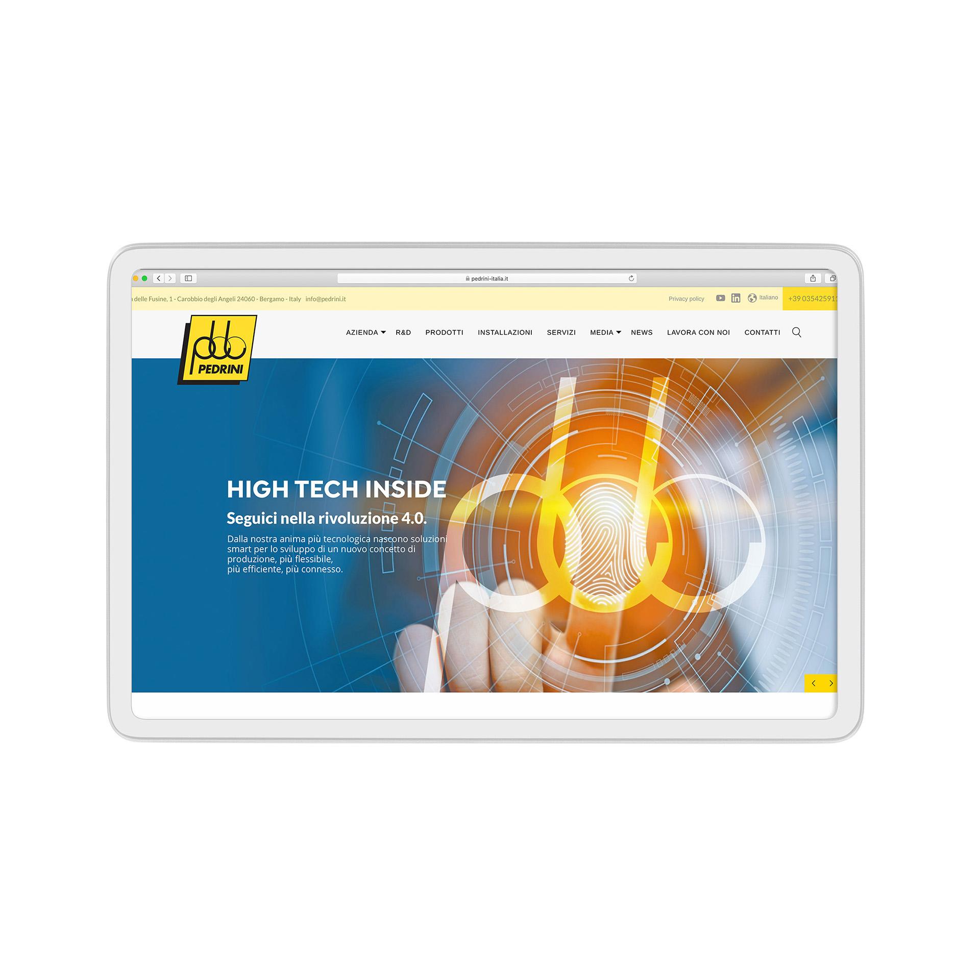 Home page Pedrini su tablet