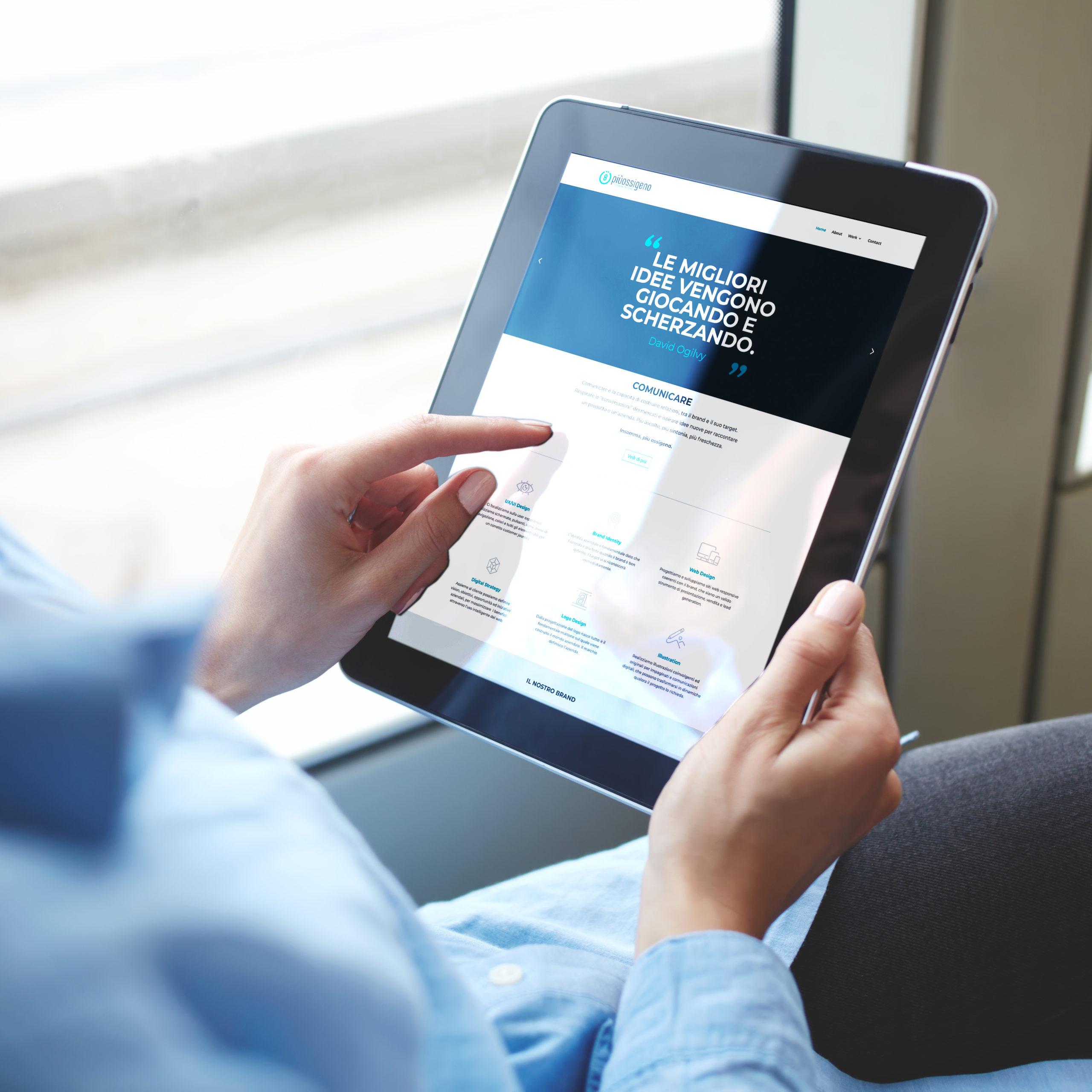 Hompage piùossigeno su tablet